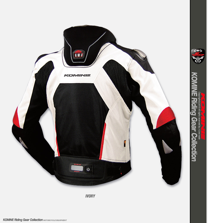 """Новая куртка """"Komine"""" с защитой груди и шеи Jk-015_ivory_bs_01"""